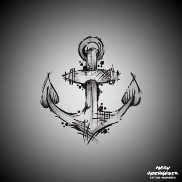 Sketch Sketchy Anchor Anker_Harry Hafensänger HH Tattoo Hamburg