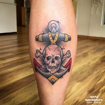 Traditional FC St. Pauli FCSP Schädel Skull Anker_Harry Hafensänger HH Tattoo Hamburg