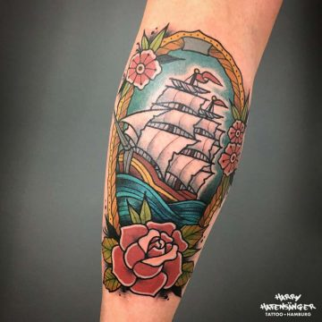 Neotraditional Segelschiff Sailing Ship Tattoo_Harry Hafensänger HH Tattoo Hamburg