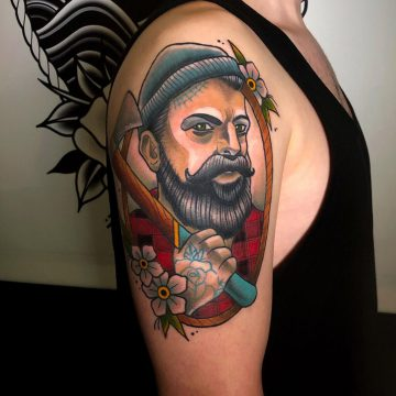 Neotraditional_Lumberjack-Holzfäller_Tattoo_Oldschool-Harry_Hafensänger-HH-Tattoostudio_Hamburg