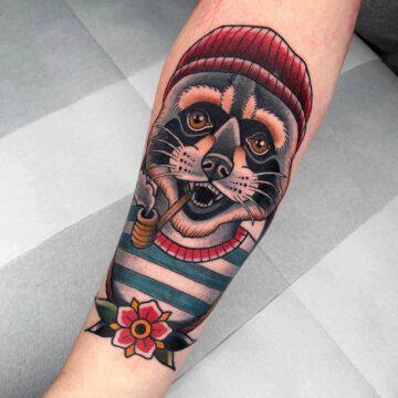 traditional-waschbaer-racoon-tattoo-oldschool-hamburg-tattoostudio-harry-hafensänger-holy-harbor